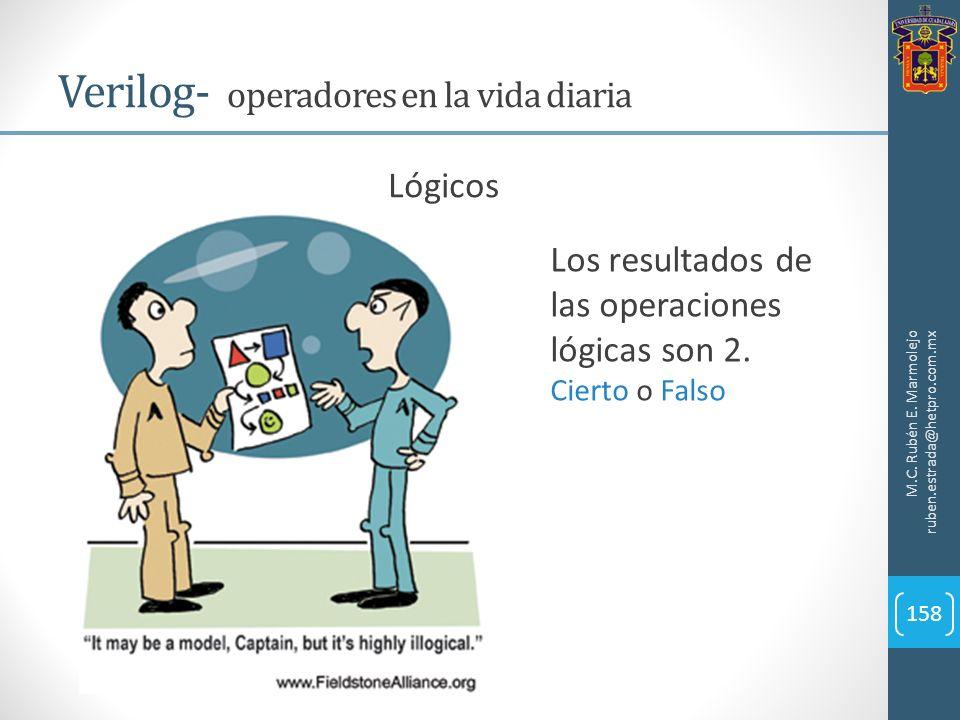 M.C. Rubén E. Marmolejo ruben.estrada@hetpro.com.mx Verilog- operadores en la vida diaria 158 Lógicos Los resultados de las operaciones lógicas son 2.