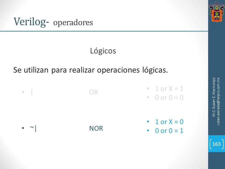 M.C. Rubén E. Marmolejo ruben.estrada@hetpro.com.mx Verilog- operadores 163 Lógicos Se utilizan para realizar operaciones lógicas. |OR ~|NOR 1 or X =