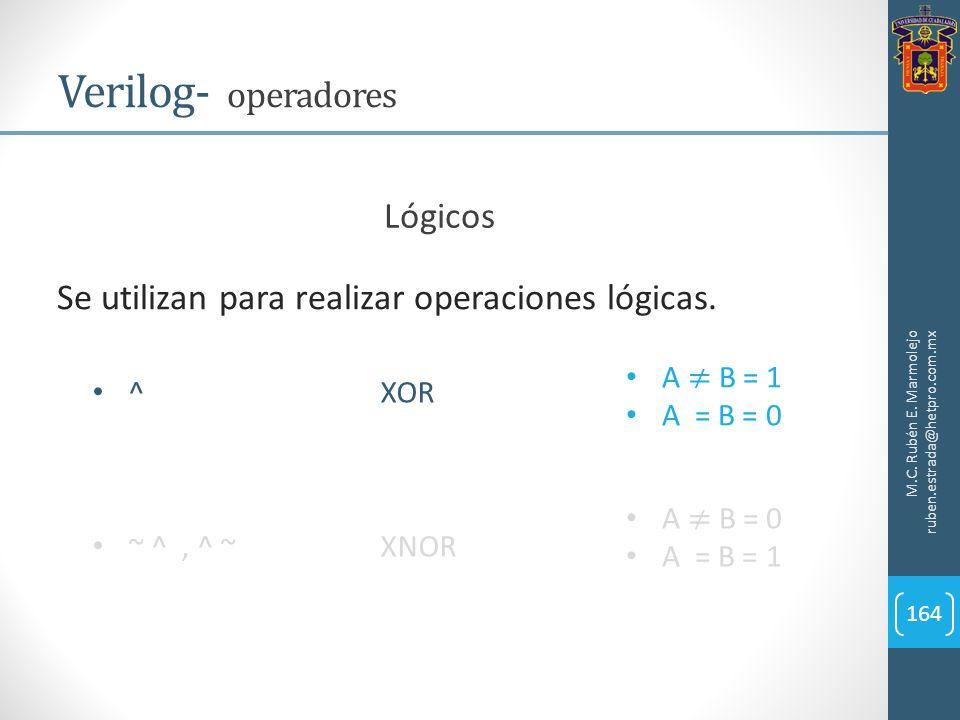 M.C. Rubén E. Marmolejo ruben.estrada@hetpro.com.mx Verilog- operadores 164 Lógicos Se utilizan para realizar operaciones lógicas. ^XOR ~ ^, ^ ~XNOR