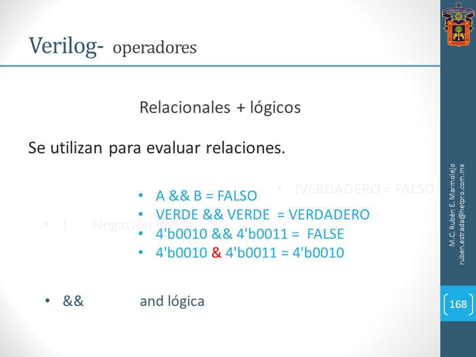 M.C. Rubén E. Marmolejo ruben.estrada@hetpro.com.mx Verilog- operadores 168 Relacionales + lógicos Se utilizan para evaluar relaciones. !Negación lógi