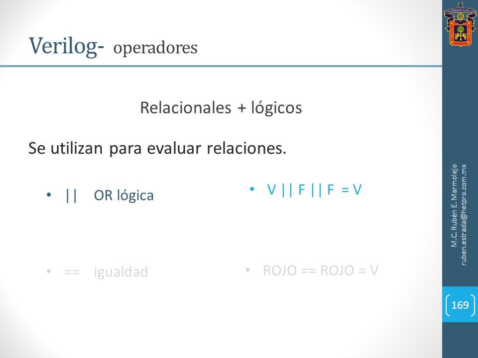 M.C. Rubén E. Marmolejo ruben.estrada@hetpro.com.mx Verilog- operadores 169 Se utilizan para evaluar relaciones. ||OR lógica ==igualdad V || F || F =