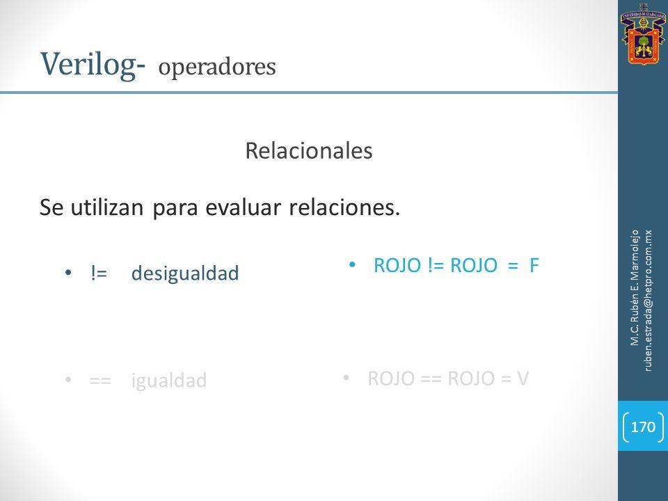 M.C. Rubén E. Marmolejo ruben.estrada@hetpro.com.mx Verilog- operadores 170 Se utilizan para evaluar relaciones. !=desigualdad ==igualdad ROJO != ROJO