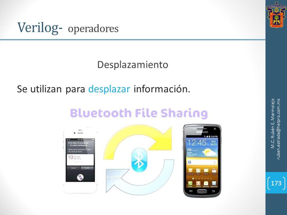 M.C. Rubén E. Marmolejo ruben.estrada@hetpro.com.mx Verilog- operadores 173 Se utilizan para desplazar información. Desplazamiento