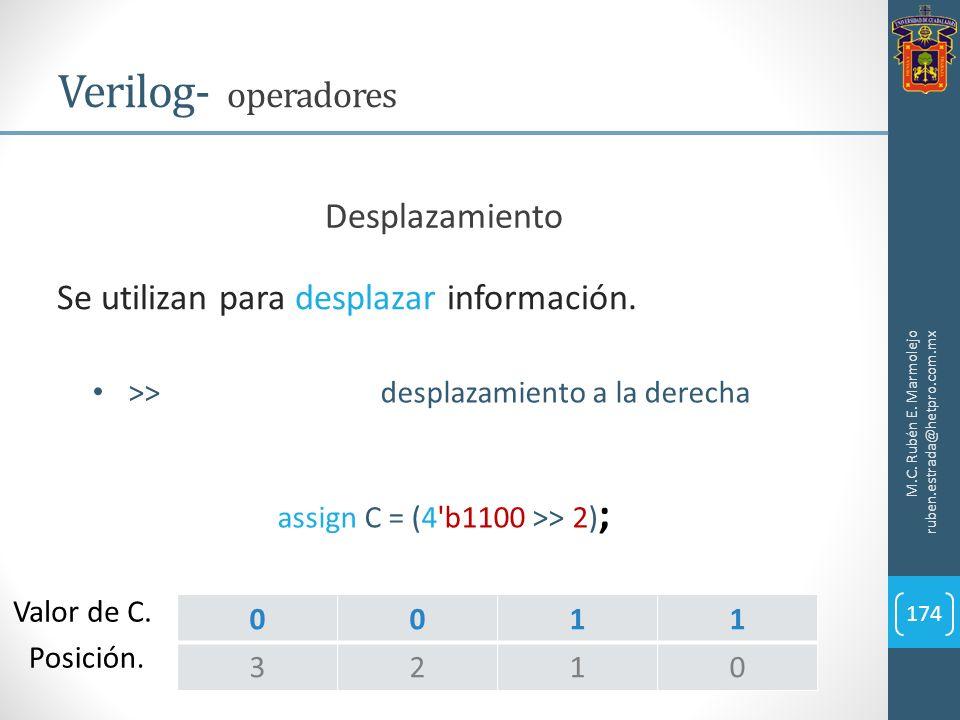M.C. Rubén E. Marmolejo ruben.estrada@hetpro.com.mx Verilog- operadores 174 Se utilizan para desplazar información. Desplazamiento >>desplazamiento a