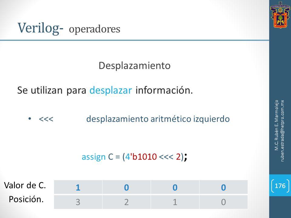 M.C. Rubén E. Marmolejo ruben.estrada@hetpro.com.mx Verilog- operadores 176 Se utilizan para desplazar información. Desplazamiento <<<desplazamiento a
