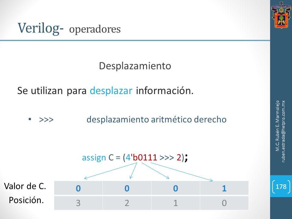 M.C. Rubén E. Marmolejo ruben.estrada@hetpro.com.mx Verilog- operadores 178 Se utilizan para desplazar información. Desplazamiento >>>desplazamiento a
