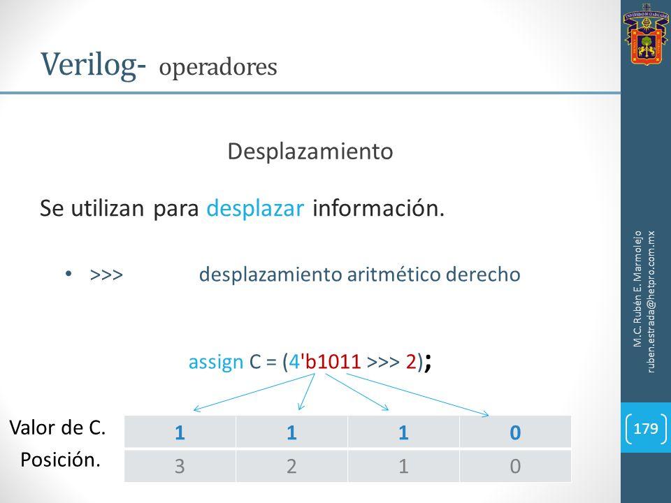 M.C. Rubén E. Marmolejo ruben.estrada@hetpro.com.mx Verilog- operadores 179 Se utilizan para desplazar información. Desplazamiento >>>desplazamiento a