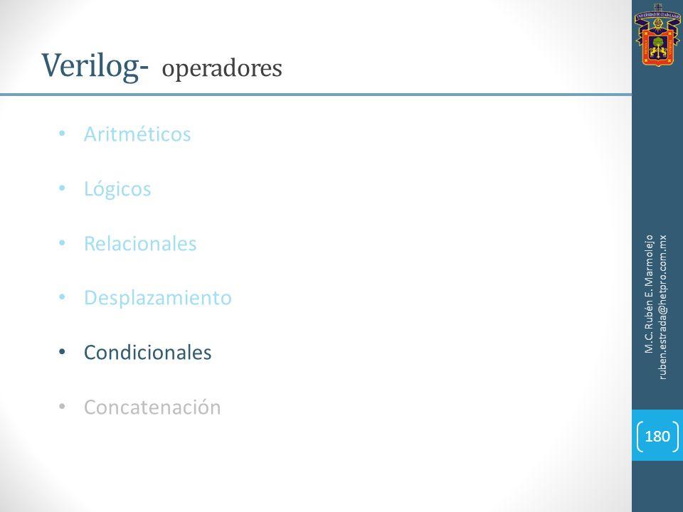 M.C. Rubén E. Marmolejo ruben.estrada@hetpro.com.mx Verilog- operadores 180 Aritméticos Lógicos Relacionales Desplazamiento Condicionales Concatenació