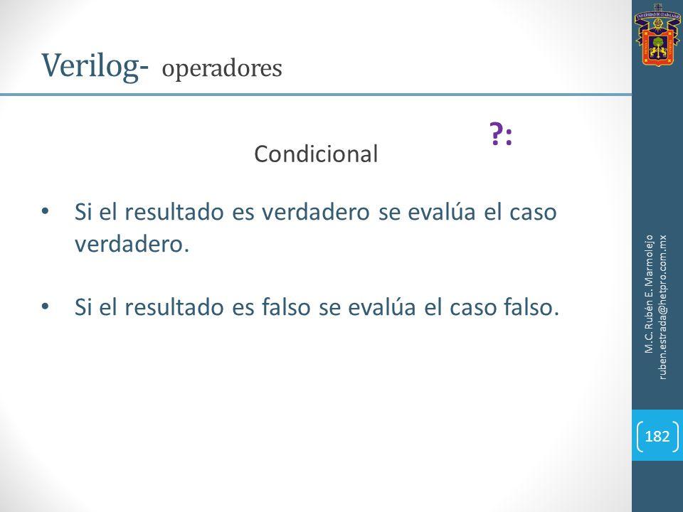 M.C. Rubén E. Marmolejo ruben.estrada@hetpro.com.mx Verilog- operadores 182 Si el resultado es verdadero se evalúa el caso verdadero. Si el resultado