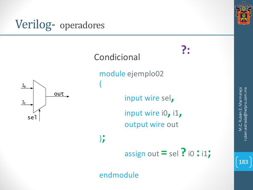 M.C. Rubén E. Marmolejo ruben.estrada@hetpro.com.mx Verilog- operadores 183 Condicional ?: module ejemplo02 ( input wire sel, input wire i0, i1, outpu