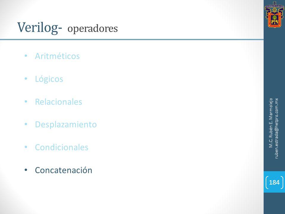 M.C. Rubén E. Marmolejo ruben.estrada@hetpro.com.mx Verilog- operadores 184 Aritméticos Lógicos Relacionales Desplazamiento Condicionales Concatenació