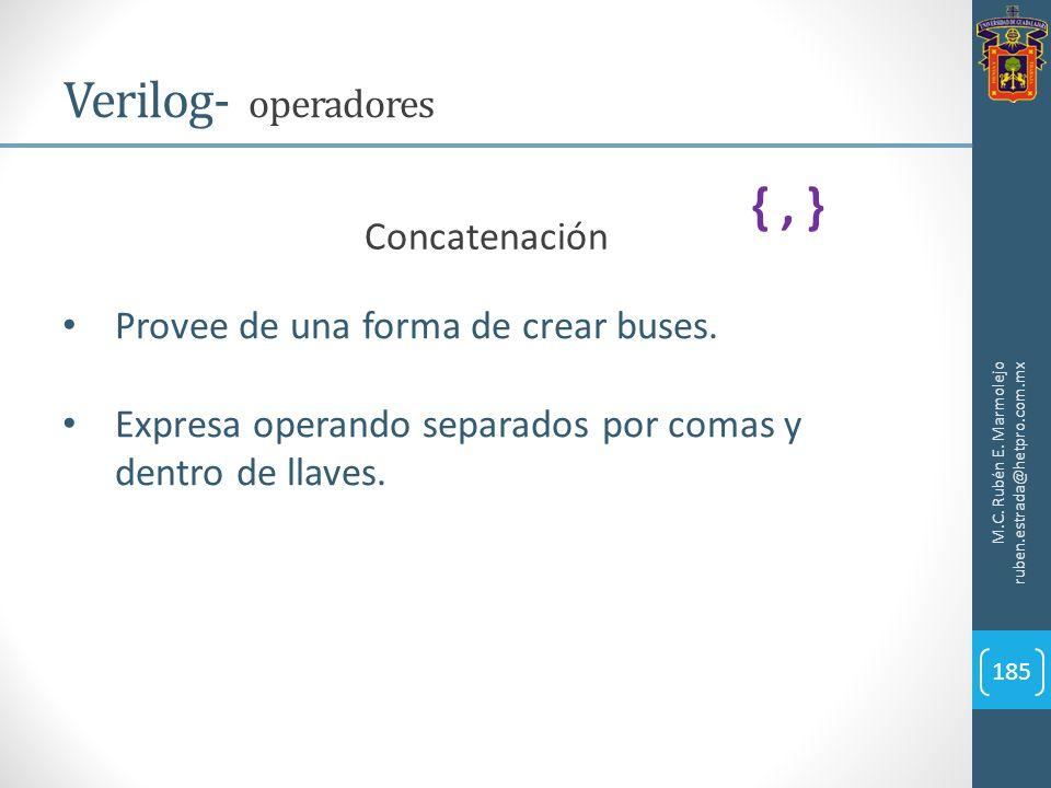 M.C. Rubén E. Marmolejo ruben.estrada@hetpro.com.mx Verilog- operadores 185 Concatenación Provee de una forma de crear buses. Expresa operando separad