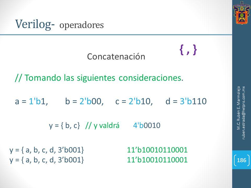M.C. Rubén E. Marmolejo ruben.estrada@hetpro.com.mx Verilog- operadores 186 Concatenación // Tomando las siguientes consideraciones. a = 1'b1,b = 2'b0
