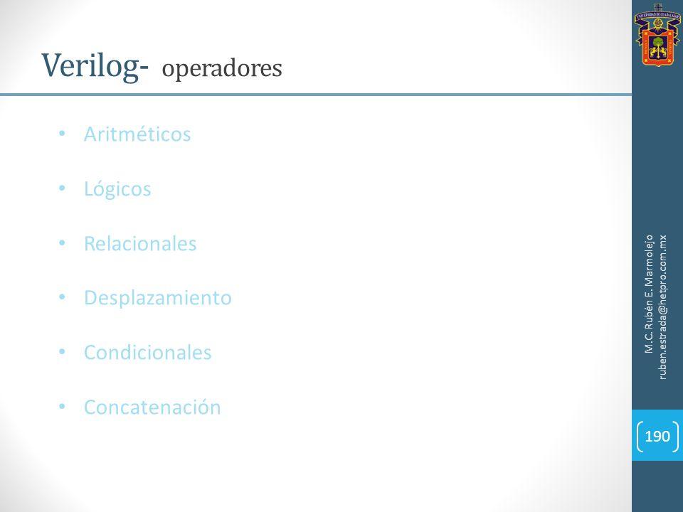M.C. Rubén E. Marmolejo ruben.estrada@hetpro.com.mx Verilog- operadores 190 Aritméticos Lógicos Relacionales Desplazamiento Condicionales Concatenació