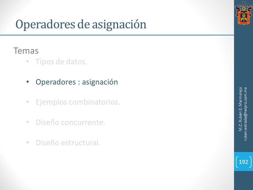 Operadores de asignación M.C. Rubén E. Marmolejo ruben.estrada@hetpro.com.mx 192 Temas Tipos de datos. Operadores : asignación Ejemplos combinatorios.