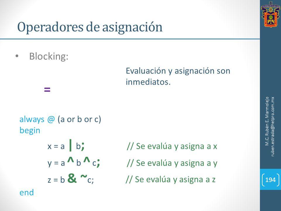 Operadores de asignación M.C. Rubén E. Marmolejo ruben.estrada@hetpro.com.mx 194 Blocking: Evaluación y asignación son inmediatos. = always @ (a or b