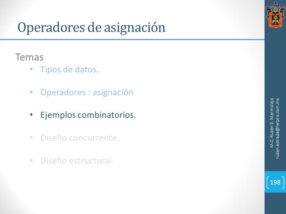 Operadores de asignación M.C. Rubén E. Marmolejo ruben.estrada@hetpro.com.mx 198 Temas Tipos de datos. Operadores : asignación Ejemplos combinatorios.