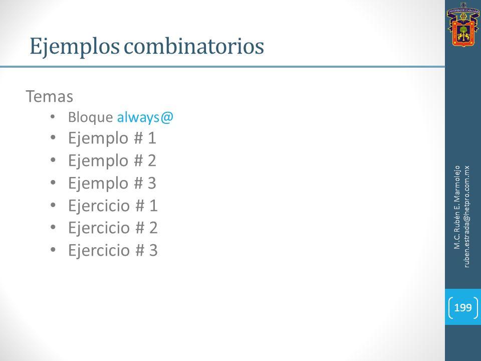 Ejemplos combinatorios M.C. Rubén E. Marmolejo ruben.estrada@hetpro.com.mx 199 Temas Bloque always@ Ejemplo # 1 Ejemplo # 2 Ejemplo # 3 Ejercicio # 1