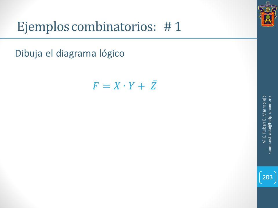 Ejemplos combinatorios: # 1 M.C. Rubén E. Marmolejo ruben.estrada@hetpro.com.mx 203 Dibuja el diagrama lógico