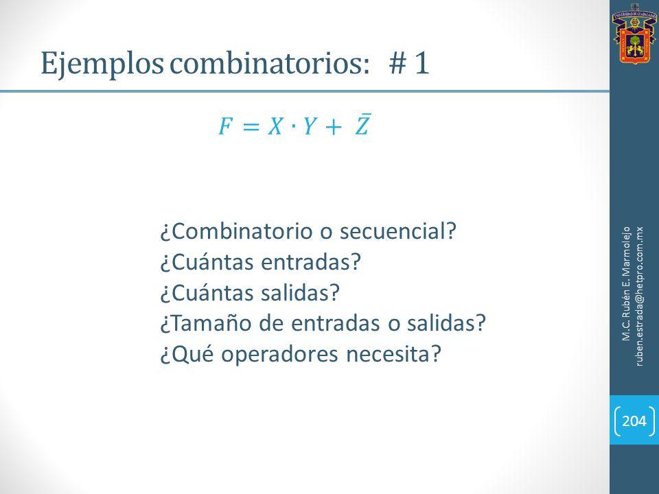 Ejemplos combinatorios: # 1 M.C. Rubén E. Marmolejo ruben.estrada@hetpro.com.mx 204 ¿Combinatorio o secuencial? ¿Cuántas entradas? ¿Cuántas salidas? ¿