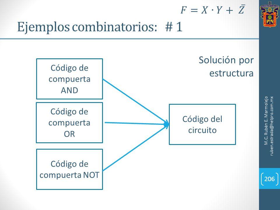 Ejemplos combinatorios: # 1 M.C. Rubén E. Marmolejo ruben.estrada@hetpro.com.mx 206 Solución por estructura Código de compuerta AND Código de compuert