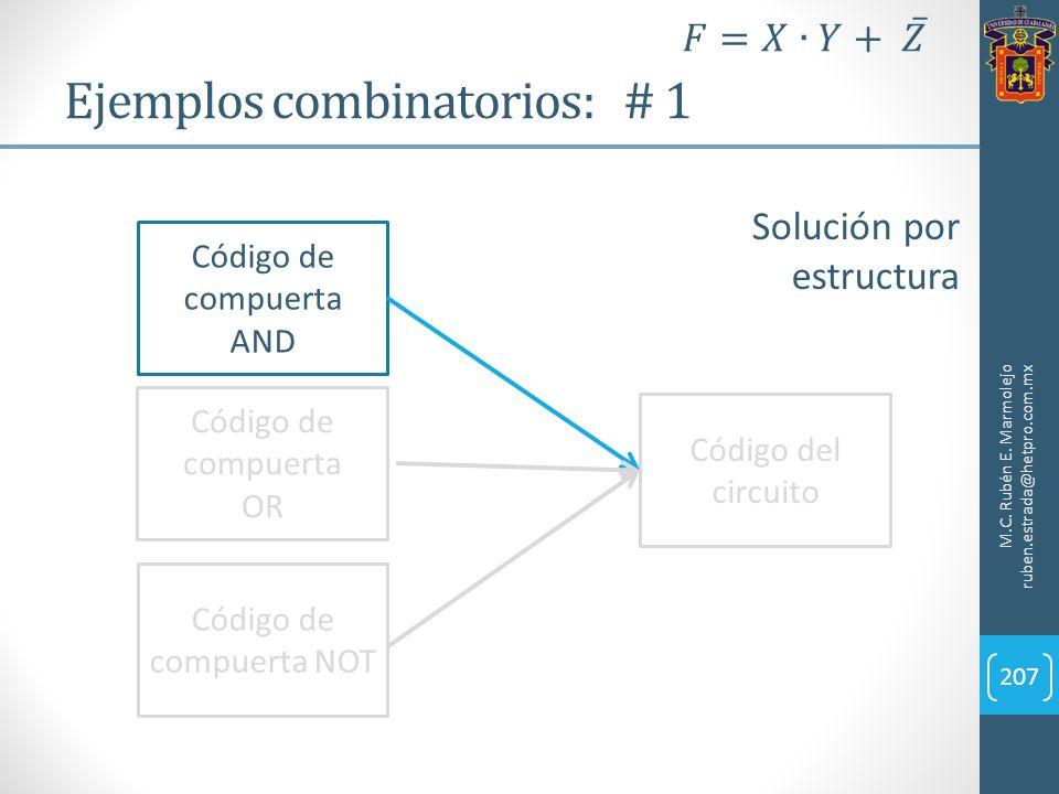 Ejemplos combinatorios: # 1 M.C. Rubén E. Marmolejo ruben.estrada@hetpro.com.mx 207 Solución por estructura Código de compuerta AND Código de compuert