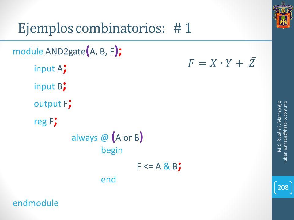 Ejemplos combinatorios: # 1 M.C. Rubén E. Marmolejo ruben.estrada@hetpro.com.mx 208 module AND2gate ( A, B, F ); input A ; input B ; output F ; reg F