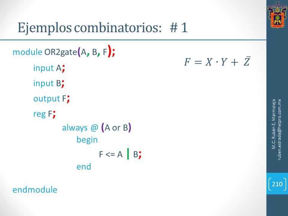 Ejemplos combinatorios: # 1 M.C. Rubén E. Marmolejo ruben.estrada@hetpro.com.mx 210 module OR2gate ( A, B, F ) ; input A ; input B ; output F ; reg F
