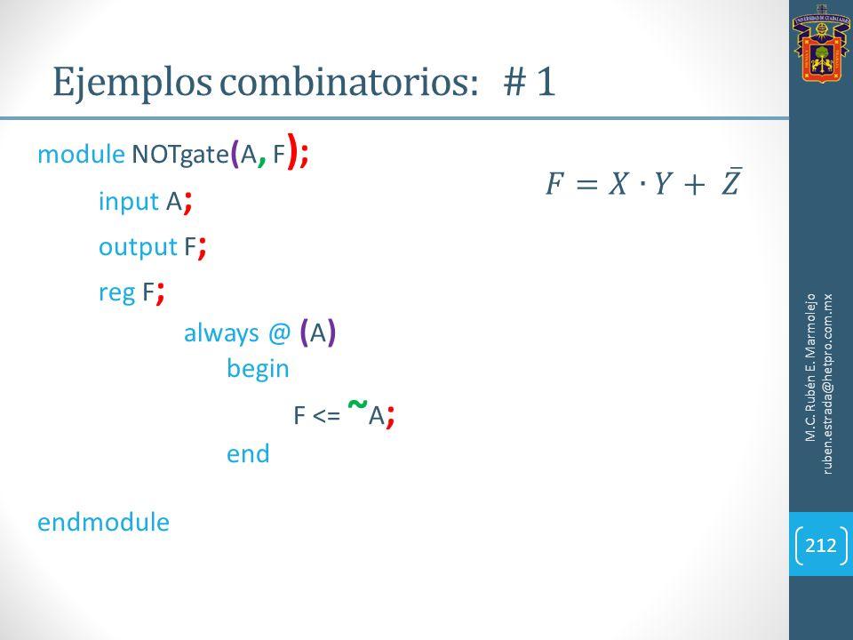 Ejemplos combinatorios: # 1 M.C. Rubén E. Marmolejo ruben.estrada@hetpro.com.mx 212 module NOTgate ( A, F ) ; input A ; output F ; reg F ; always @ (