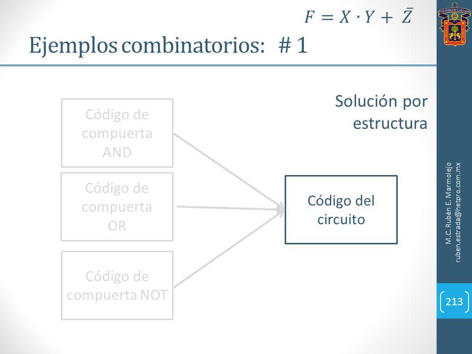 Ejemplos combinatorios: # 1 M.C. Rubén E. Marmolejo ruben.estrada@hetpro.com.mx 213 Solución por estructura Código de compuerta AND Código de compuert