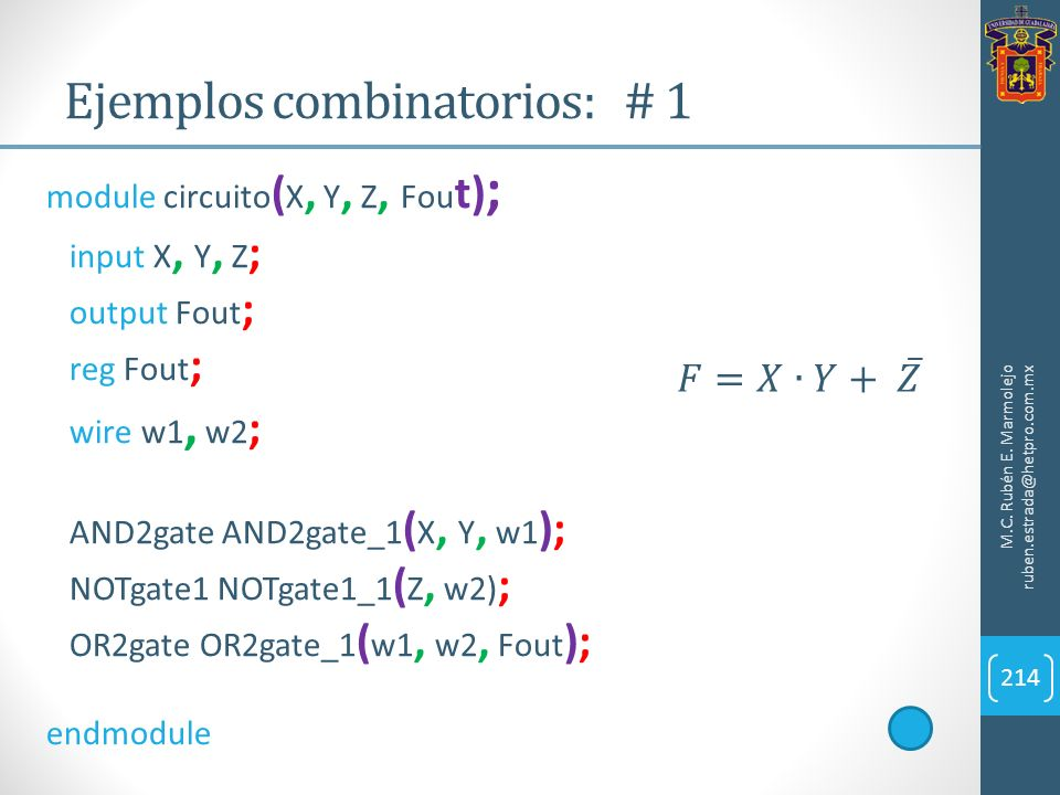 Ejemplos combinatorios: # 1 M.C. Rubén E. Marmolejo ruben.estrada@hetpro.com.mx 214 module circuito ( X, Y, Z, Fou t) ; input X, Y, Z ; output Fout ;