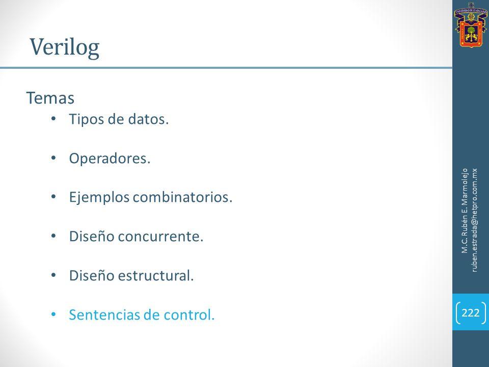 Verilog M.C. Rubén E. Marmolejo ruben.estrada@hetpro.com.mx 222 Temas Tipos de datos. Operadores. Ejemplos combinatorios. Diseño concurrente. Diseño e