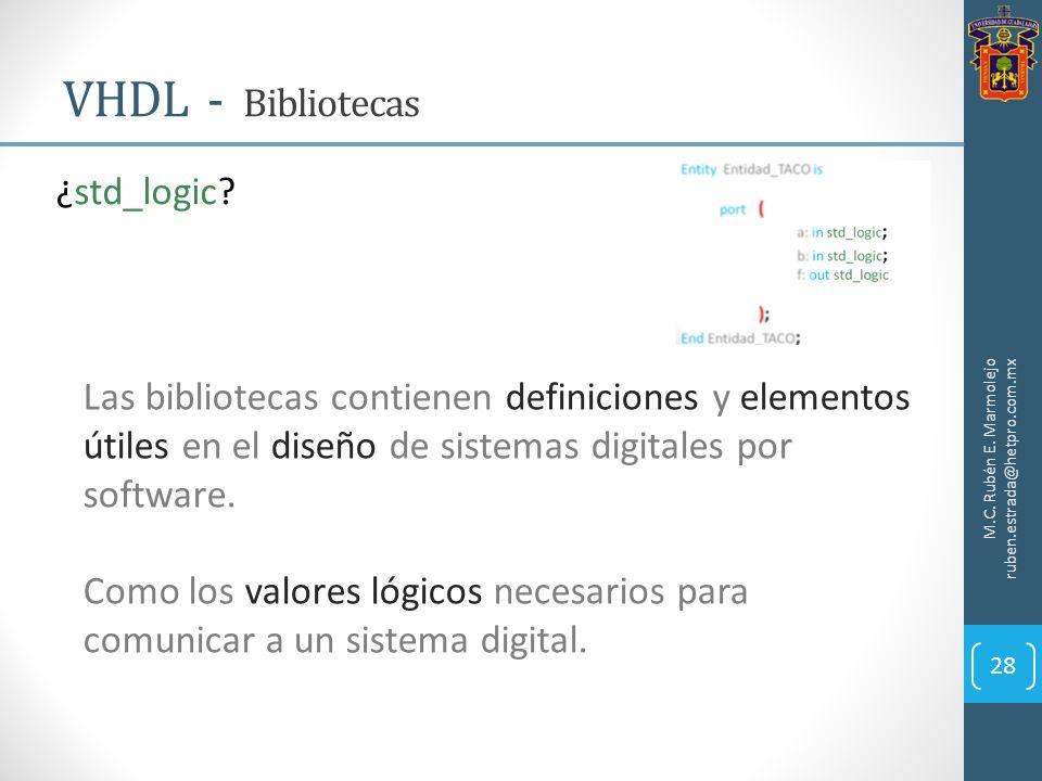 VHDL - Bibliotecas M.C. Rubén E. Marmolejo ruben.estrada@hetpro.com.mx 28 ¿std_logic? Las bibliotecas contienen definiciones y elementos útiles en el