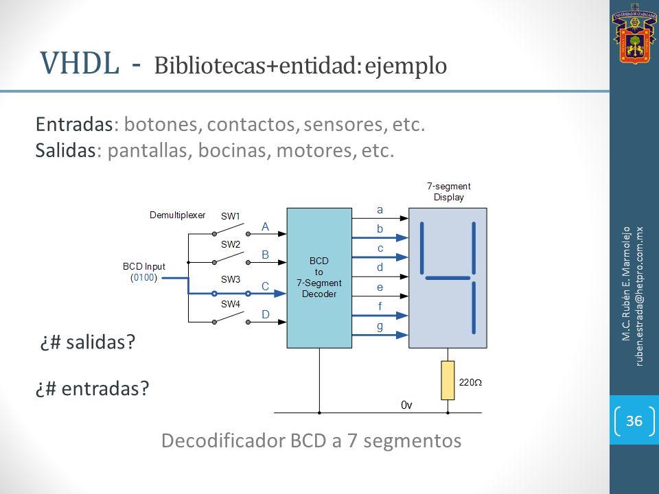 VHDL - Bibliotecas+entidad: ejemplo M.C. Rubén E. Marmolejo ruben.estrada@hetpro.com.mx 36 Decodificador BCD a 7 segmentos Entradas: botones, contacto