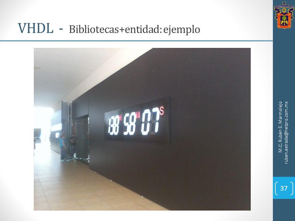 VHDL - Bibliotecas+entidad: ejemplo M.C. Rubén E. Marmolejo ruben.estrada@hetpro.com.mx 37