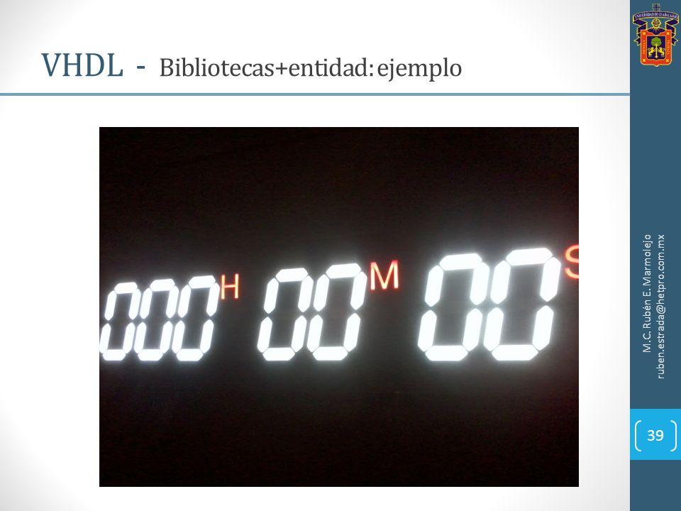 VHDL - Bibliotecas+entidad: ejemplo M.C. Rubén E. Marmolejo ruben.estrada@hetpro.com.mx 39