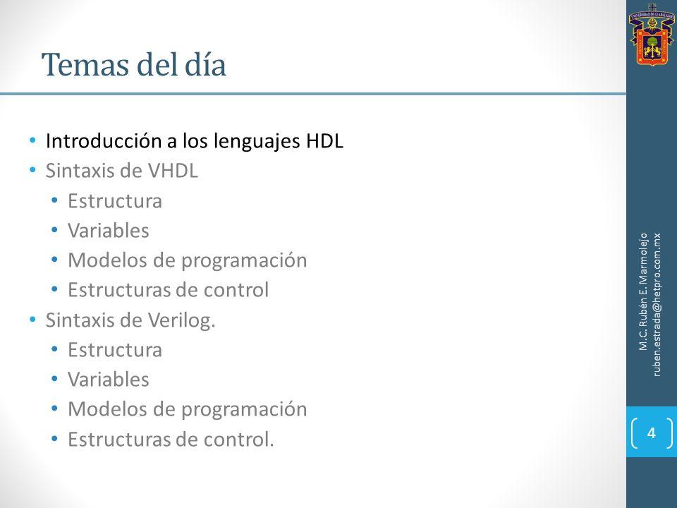 Introducción a los lenguajes HDL Sintaxis de VHDL Estructura Variables Modelos de programación Estructuras de control Sintaxis de Verilog. Estructura
