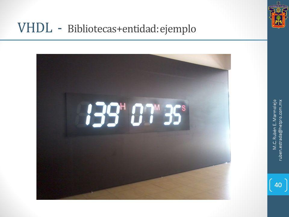 VHDL - Bibliotecas+entidad: ejemplo M.C. Rubén E. Marmolejo ruben.estrada@hetpro.com.mx 40