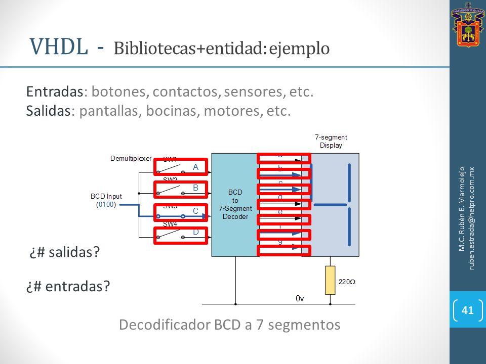VHDL - Bibliotecas+entidad: ejemplo M.C. Rubén E. Marmolejo ruben.estrada@hetpro.com.mx 41 Decodificador BCD a 7 segmentos Entradas: botones, contacto