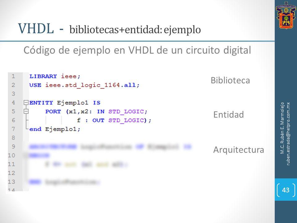 VHDL - bibliotecas+entidad: ejemplo M.C. Rubén E. Marmolejo ruben.estrada@hetpro.com.mx 43 Código de ejemplo en VHDL de un circuito digital Biblioteca