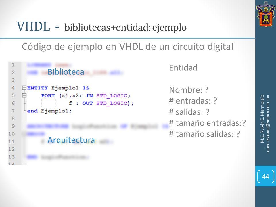 VHDL - bibliotecas+entidad: ejemplo M.C. Rubén E. Marmolejo ruben.estrada@hetpro.com.mx 44 Código de ejemplo en VHDL de un circuito digital Biblioteca