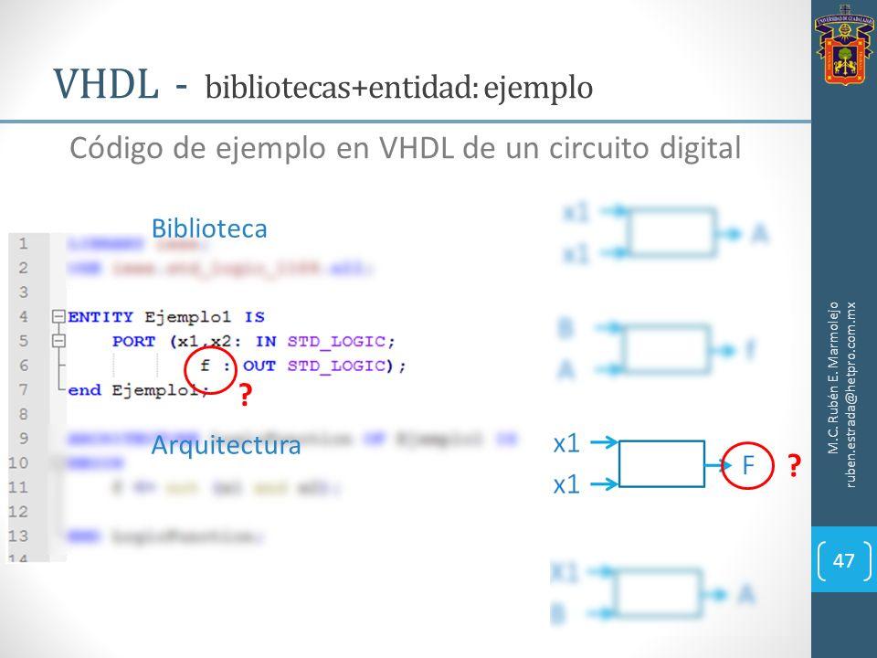 VHDL - bibliotecas+entidad: ejemplo M.C. Rubén E. Marmolejo ruben.estrada@hetpro.com.mx 47 Código de ejemplo en VHDL de un circuito digital Biblioteca