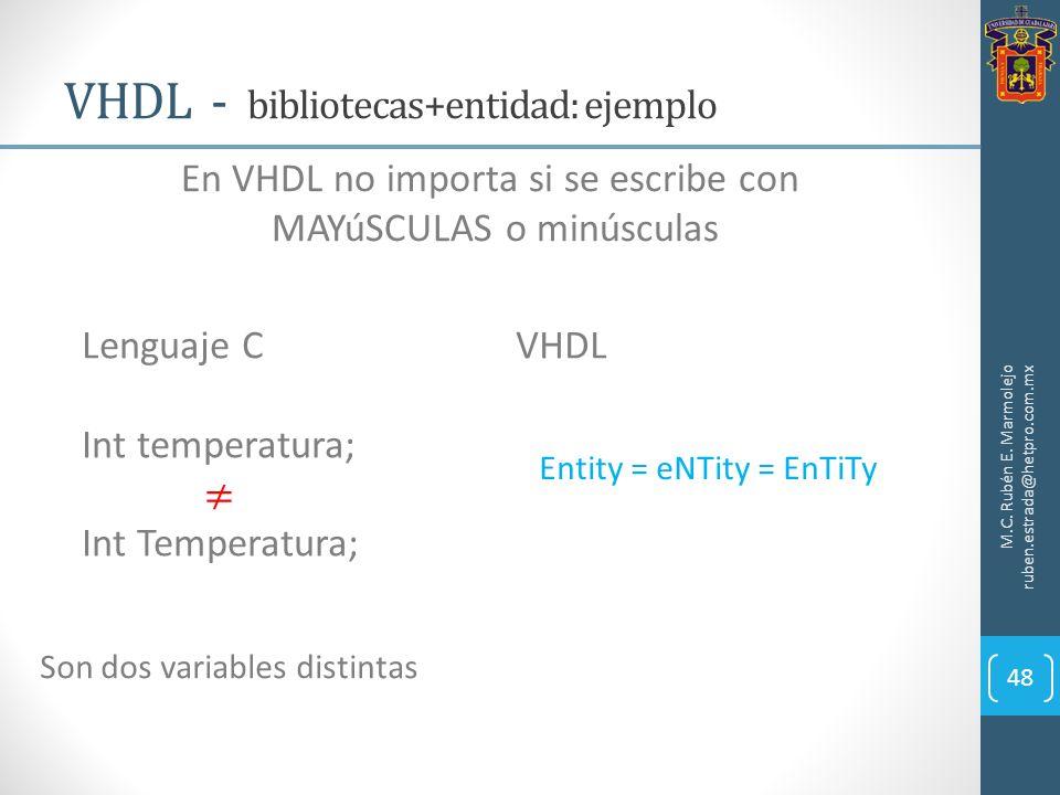 VHDL - bibliotecas+entidad: ejemplo M.C. Rubén E. Marmolejo ruben.estrada@hetpro.com.mx 48 En VHDL no importa si se escribe con MAYúSCULAS o minúscula