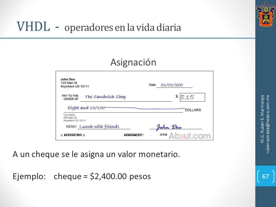 M.C. Rubén E. Marmolejo ruben.estrada@hetpro.com.mx VHDL - operadores en la vida diaria 67 Asignación A un cheque se le asigna un valor monetario. Eje