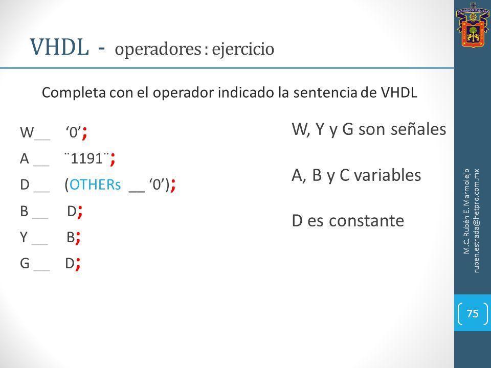 M.C. Rubén E. Marmolejo ruben.estrada@hetpro.com.mx VHDL - operadores : ejercicio 75 Completa con el operador indicado la sentencia de VHDL W, Y y G s