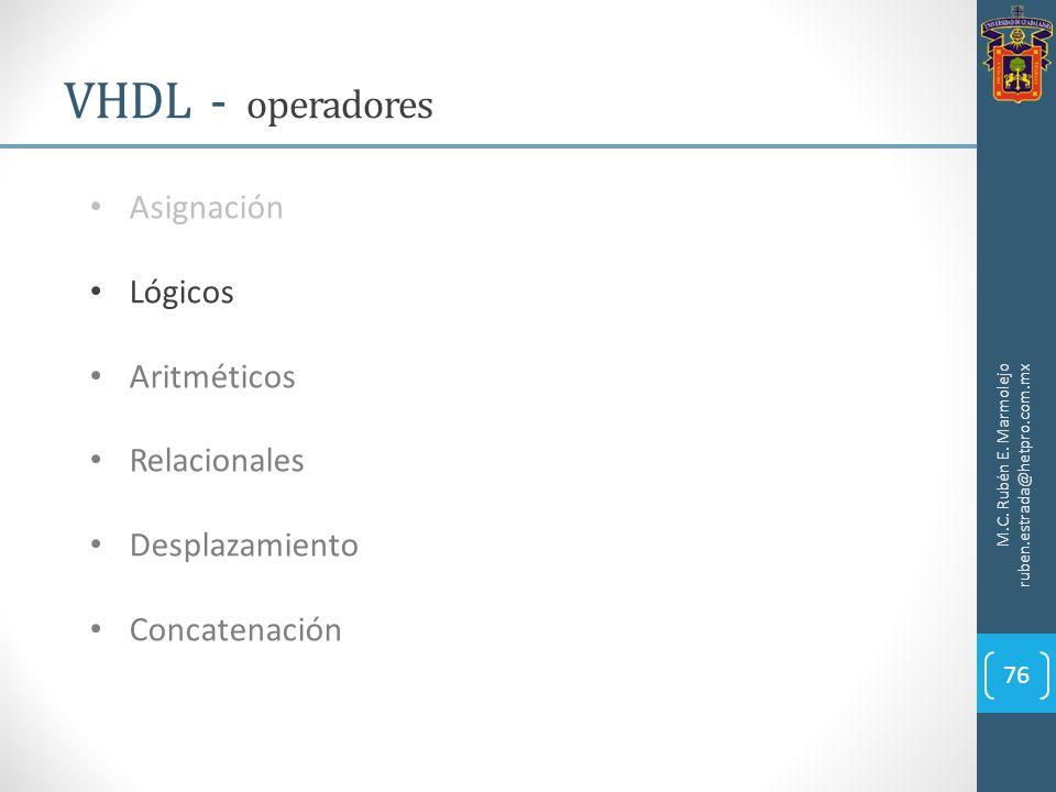 M.C. Rubén E. Marmolejo ruben.estrada@hetpro.com.mx VHDL - operadores 76 Asignación Lógicos Aritméticos Relacionales Desplazamiento Concatenación