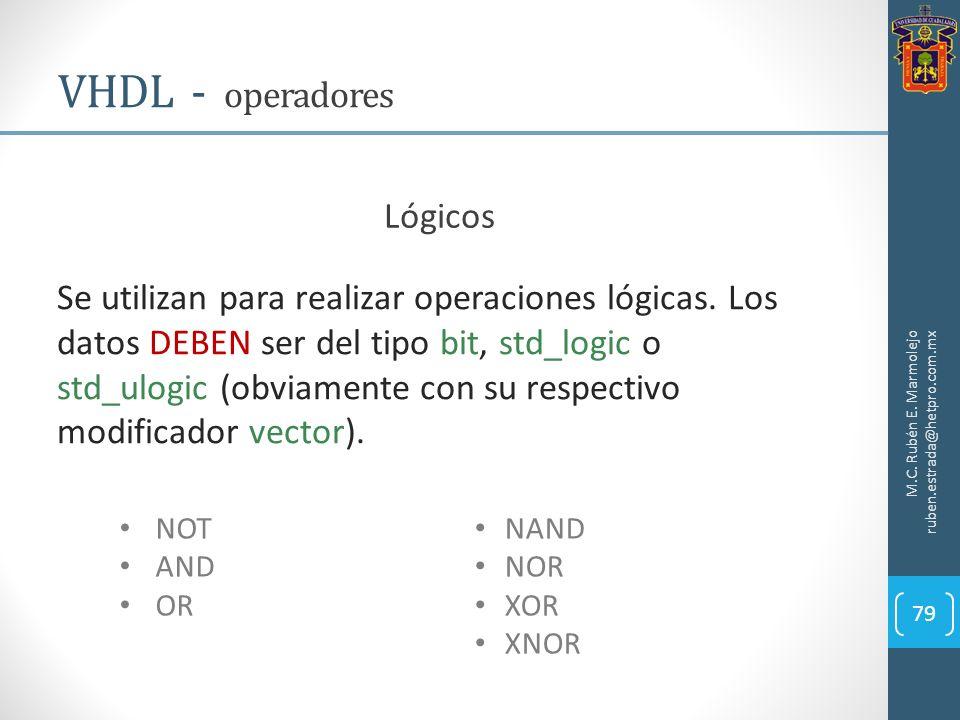 M.C. Rubén E. Marmolejo ruben.estrada@hetpro.com.mx VHDL - operadores 79 Lógicos Se utilizan para realizar operaciones lógicas. Los datos DEBEN ser de