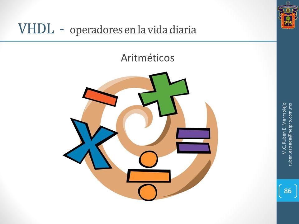 M.C. Rubén E. Marmolejo ruben.estrada@hetpro.com.mx VHDL - operadores en la vida diaria 86 Aritméticos