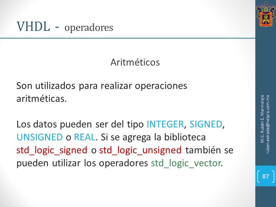 M.C. Rubén E. Marmolejo ruben.estrada@hetpro.com.mx VHDL - operadores 87 Aritméticos Son utilizados para realizar operaciones aritméticas. Los datos p