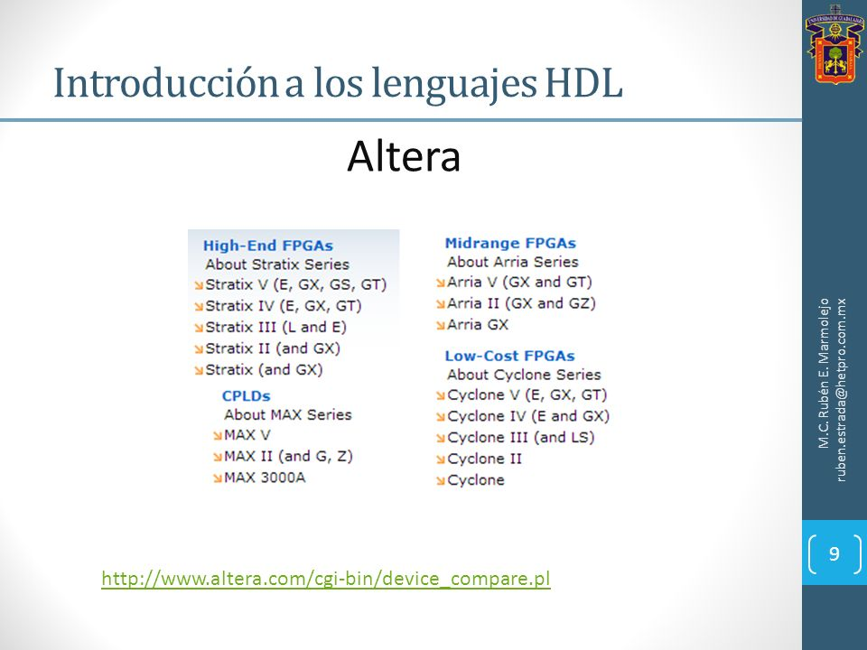 Introducción a los lenguajes HDL M.C. Rubén E. Marmolejo ruben.estrada@hetpro.com.mx http://www.altera.com/cgi-bin/device_compare.pl Altera 9